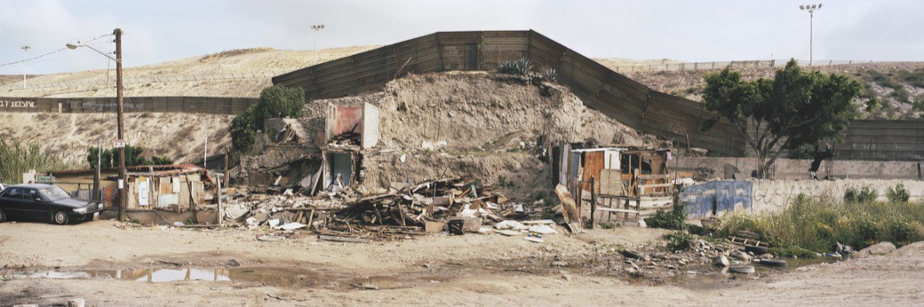 Destroyed Shacks next to the Mexican-US border in Tijuana/ Mexico. April 2007.